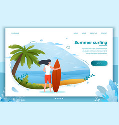 Surfing girl on a beach vector