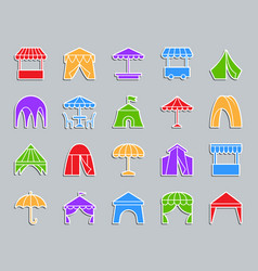 Tent patch sticker icons set vector
