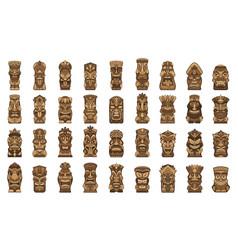 Tiki idols icons set cartoon style vector
