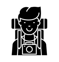 Traveller - active tourist with camera and vector