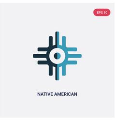 Two color native american sun icon from religion vector