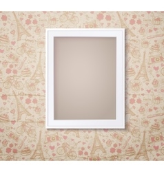 Vintage white photoframe on french fashioned vector