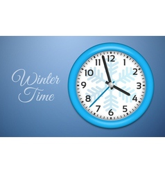 Winter Clocks on cold blue wall vector image