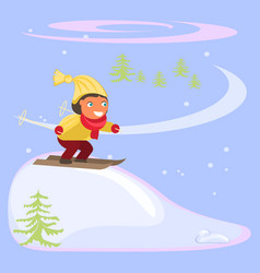 winter scene with children vector image