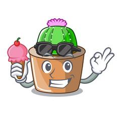 With ice cream cartoon star cactus plants at vector