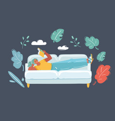 woman reading on sofa vector image