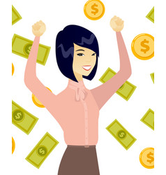 Young asian business woman under money rain vector