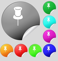 Clip Icon sign Set of eight multi colored round vector image