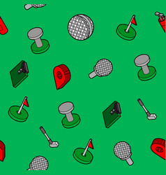 golf flat outline isometric pattern vector image