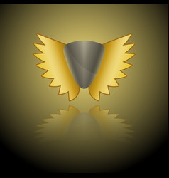 image of a gray shield logo with golden wings on vector image