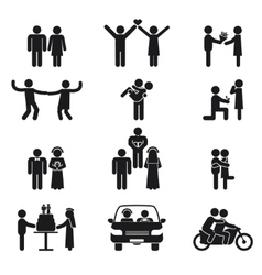 Relationship and wedding people icon set vector image