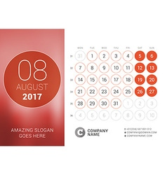 Desk calendar for 2017 year august design print vector