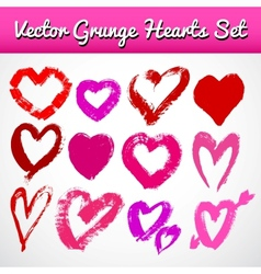 Grunge hearts on white background set vector image vector image