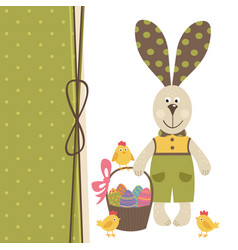 happy easter greeting card with bunny boy vector image
