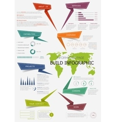 Infographic with world map for presentation design vector