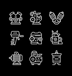 set line icons of motor and engine vector image