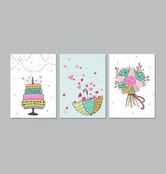set of beautiful birthday love congratulation vector image vector image