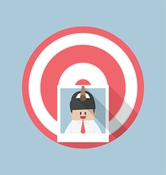 Businessman picture stick on target by arrow vector image vector image
