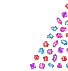 Cartoon doodle gems background vector image