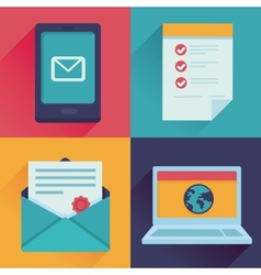 communication icons in flat retro style vector image vector image