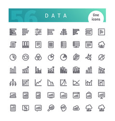 data line icons set vector image vector image