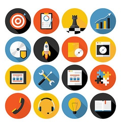 Flat icons collection with long shadow of web vector image