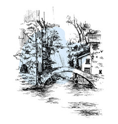 hand drawn italy bridge bridge urban sketch vector image