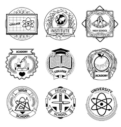 High education university and academy logotypes vector