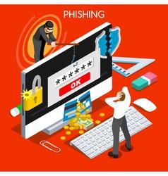 Phishing Concept Isometric People vector image