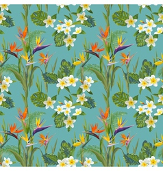 Tropical Flowers and Leaves Background vector image vector image