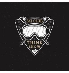 Winter ski club label design sports shield badge vector