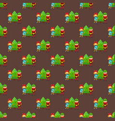 christmas kids winter seamless pattern cartoon new vector image