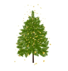 Green lush fir decorated with gold confetti Fir vector image