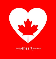 Heart with Canadian maple Leaf vector image vector image