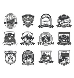 icons for camping mountain adventure vector image vector image