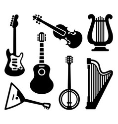 icons of string musical instruments vector image