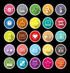 Quality life line flat icons with long shadow vector image vector image