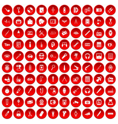 100 portable icons set red vector
