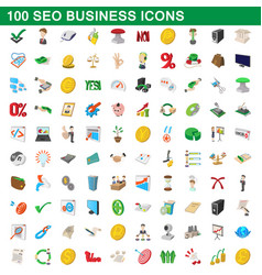 100 seo business icons set cartoon style vector