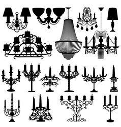 a set silhouettes candelabra lamps and vector image