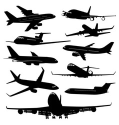 Air plane aircraft jet silhouettes vector
