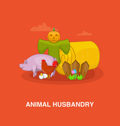 animal husbandry concept cartoon style vector image