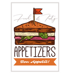 appetizers hand drawn poster template vector image