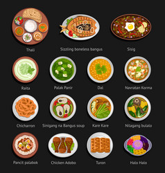 asian food philippine and indian cuisine vector image