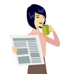 asian woman drinking coffee and reading newspaper vector image