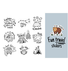 Big set of cartoon sticker for camping in vector