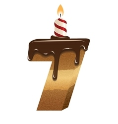 Birthday cake font - number seven vector