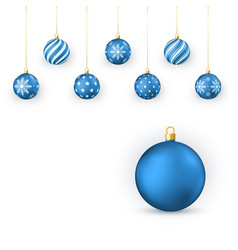 blue christmas balls set holiday decorative vector image
