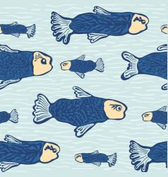 Blue shoal fish seamless seaweed animal vector