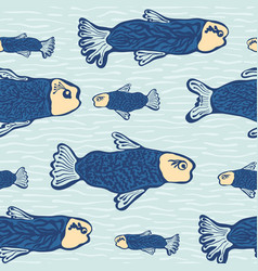 blue shoal of fish seamless seaweed animal vector image